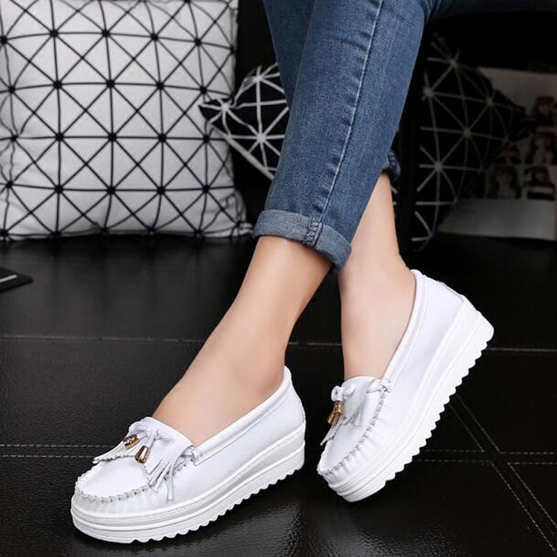 Alakazamp Brand 2019 Spring Women Platform Shoes Woman Genuine Leather Flats Slip On Female Flat Loafers Shoes For Women F888 in Women 39 s Flats from Shoes