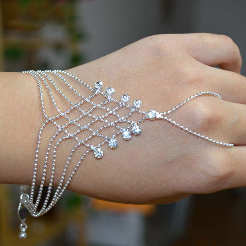 Hot New 2015 Fashion Bracelet Hand Chain Finger girls Silver ...