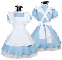 New Arrival Light Blue Maid Cosplay Costume Alice Cosplay Dress Anime Summer Style Vintage Lolita Dresses for Women Girls