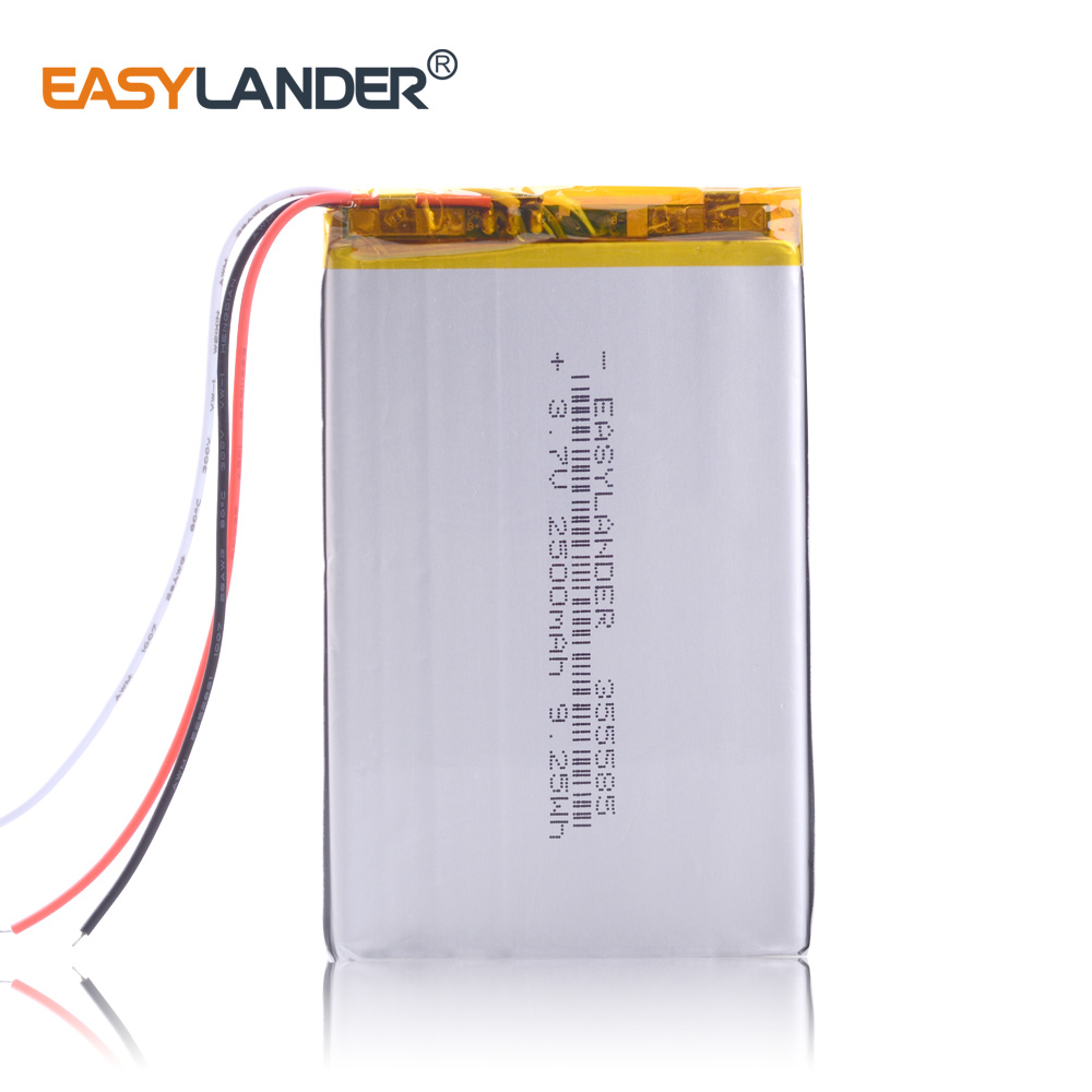 NTC 3-wire 355585 2500mAh 3.7V Lithium Polymer Rechargeable Battery For  Phone E-Book Onyx  Boox  PAD LAPTOP GPS DVR