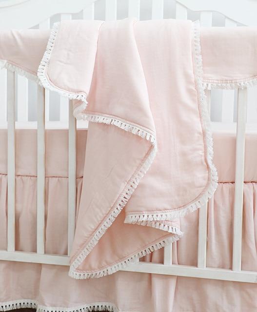 Sahaler Boho Baby Blanket Baby Newborn Swaddle Wrap Crib Comforter  Quilt 34*42 inches(Pink)