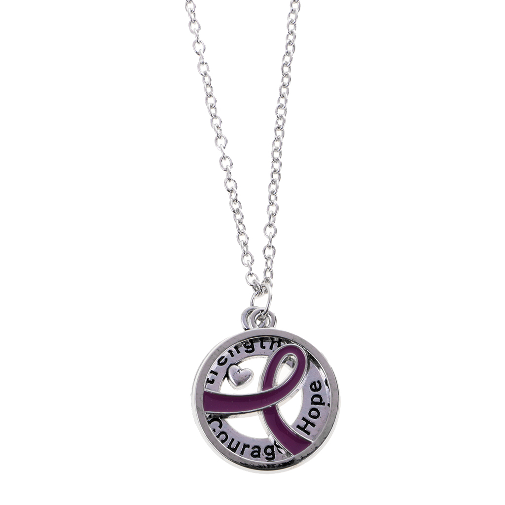Round Ribbon Courage Hope HIV AIDS Red Awareness Pendant Necklace Jewelry