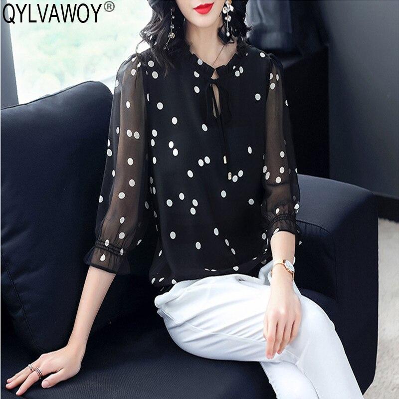 Chemise femme été soie Blouse femmes Blouses 2019 Vintage coréen à pois Blouse haut pour femme grande taille Camisas Mujer MY2935