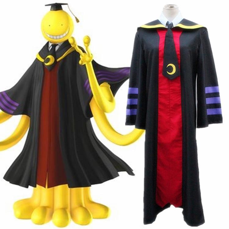 Anime Assassination Classroom Ansatsu Kyoushitsu Cosplay Costume Korosensei Unisex Long Cloak ( Robe+Tie+shirt+vest ) Size S-XXL