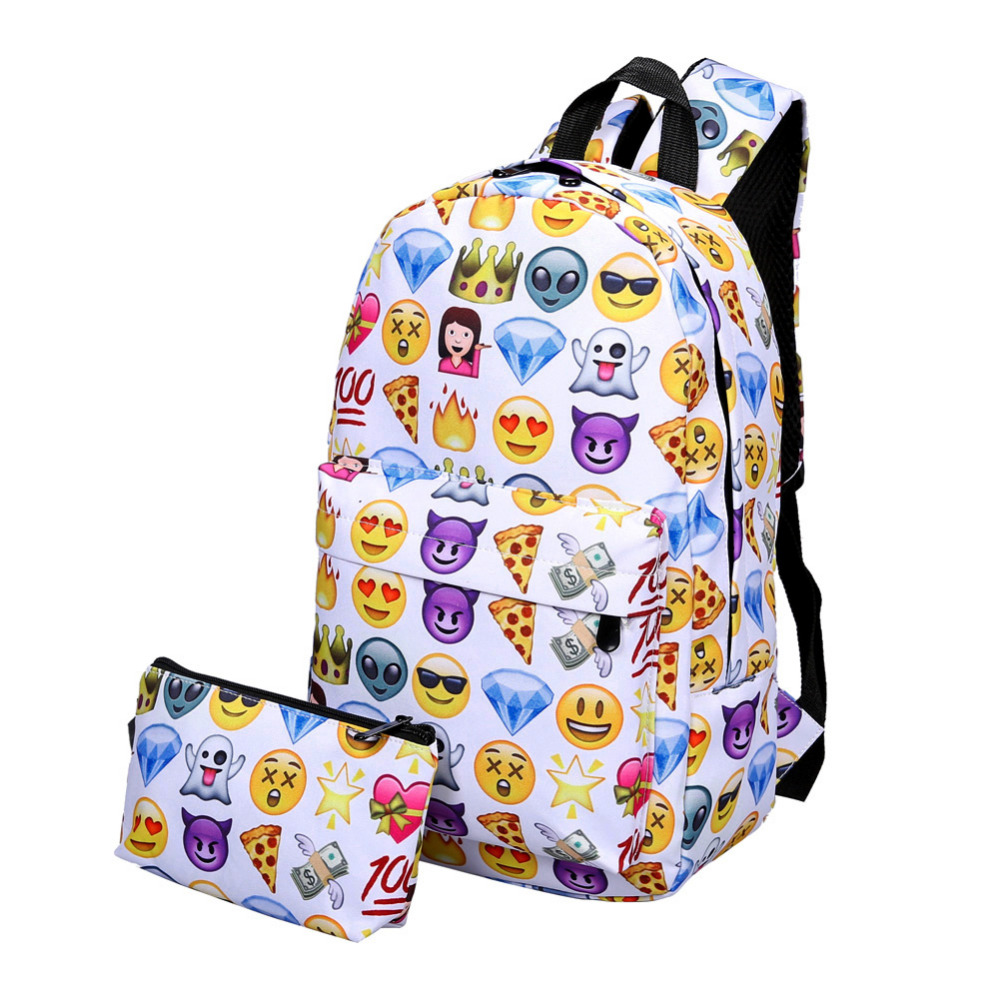 2017 Emoji Backpack 3D Cute Smile Printing Backpack Waterproof Nylon Backpacks for Teenage Girls Travel School Bag Bolsa Mochila