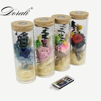 Dropshipping Gift real Rose in Glass vase with LED Light cover for Valentine's Day Mother's Day birthday Gifts remote control