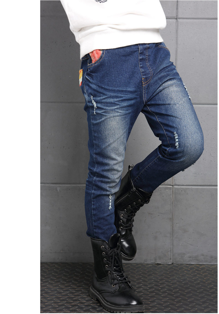 new 2017 boys ripped skinny jeans boys pants clothes teenage big little boy kids jeans for teenagers boys children deninm pants trousers clothing  (3)