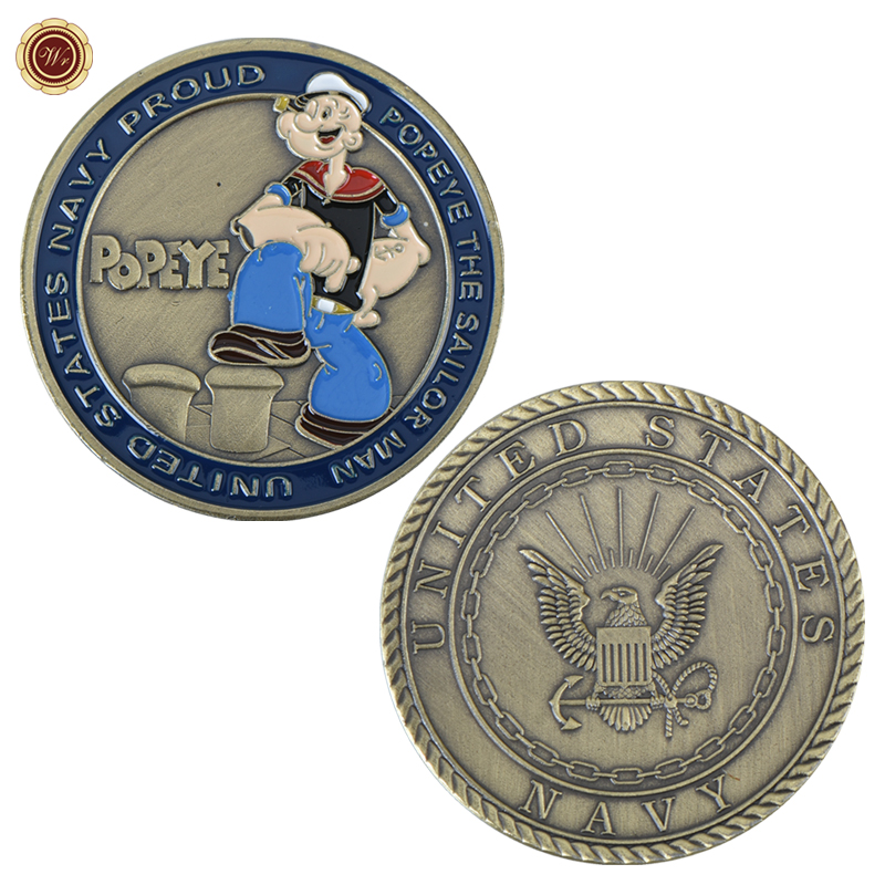 WR Popeye Bronze Plated Challenge Coin United States Navy Proud Metal Coins Collectibles Sailor Man Commemorative Coin
