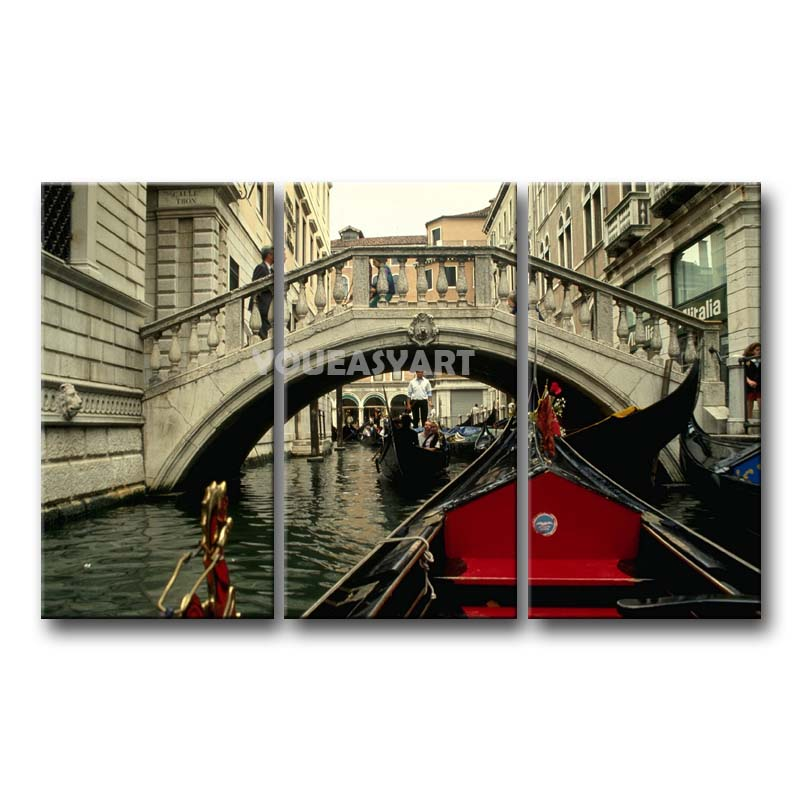 3 Piece Black White And Red Painting On Canvas Wall Art Italy Venice ...