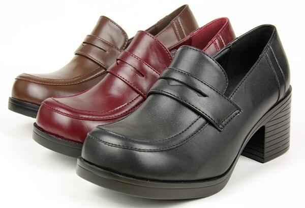 Japanese School Students Uniform Shoes Uwabaki JK Round Toe Women Girls Lolita Cosplay Med Heels V1