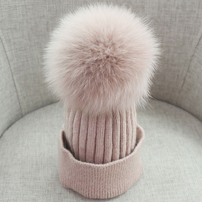 Women Beanies Raccoon Fur Pom Poms Wool Hat Beanie Knitted Skullies Fashion Caps Ladies Knit Cap Winter Hats For Women
