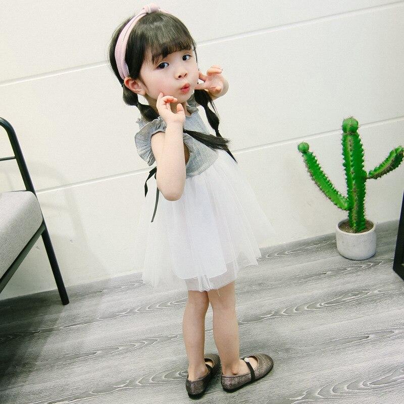 Noworodków dziecko dziewczynka sukienka vestido infantil bebe Szary - Odzież dla niemowląt - Zdjęcie 2