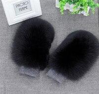 Women Fashion Brand New Genuine Woollen Fox Fur Covered Winter Gloves Mittens