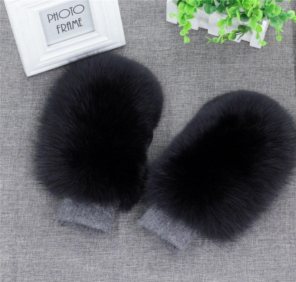 Femmes mode tout nouveau véritable laine renard fourrure couverte gants d'hiver mitaines russe neige Ski filles gants chauds