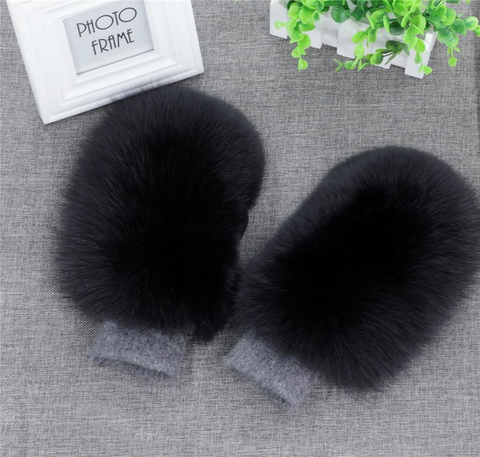 Wanita Fesyen Jenama New Wool Asli Fox Fur Dilengkapi Sarung tangan Winter Winter Mittens Rusia Snow Ski Girls Warm Gloves
