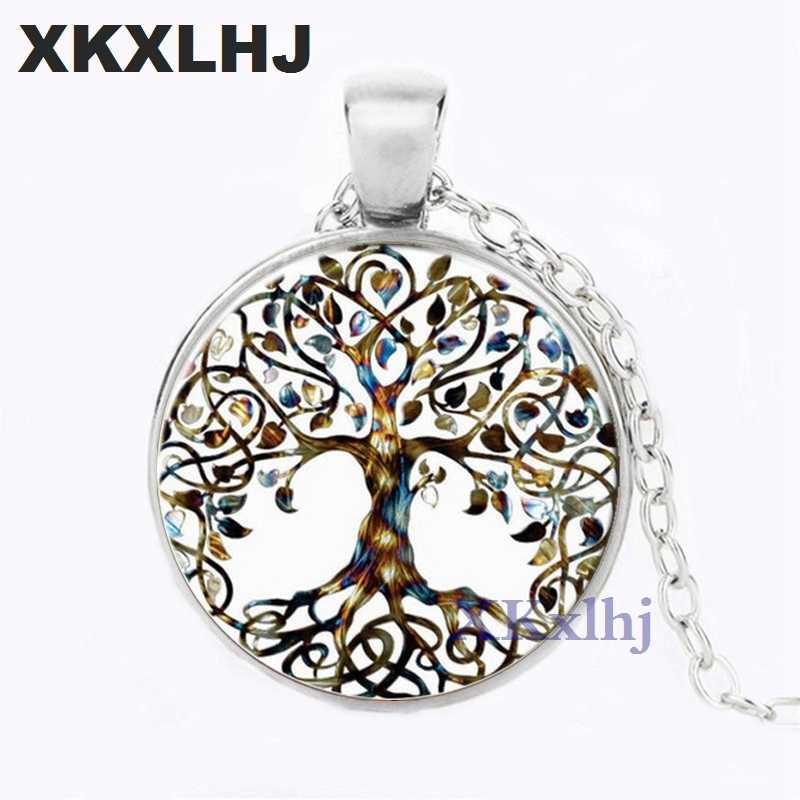 XKXLHJ ต้นไม้ Life Art จี้สร้อยคอ Photo แก้ว Cabochon Charm choker สร้อยคอผู้หญิงของขวัญเครื่องประดับ