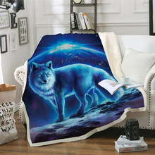 Sofa cushion Yoga mat Blanket Air Conditioner Is Thickened Double-layer Plush 3D Digital Printed Wolf Series