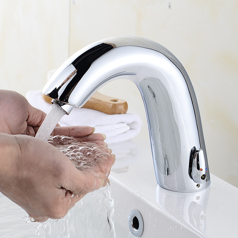 Basin Faucets Sensor Automatic infrared Bathroom Sink Faucet Touchless Inductive Electric Deck Toilet Wash Mixer Water