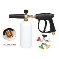 High Pressure Car Washer M22 x 1.5 mm Snow Foam Gun with 5 1/4 Quick Release Nozzles for Car Washer Water Gun Cleaning Tools