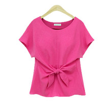 Chiffon Blouse Shirts Short-Sleeve Rose Womens Office-Tops O-Neck Blusas Casual Plus-Size