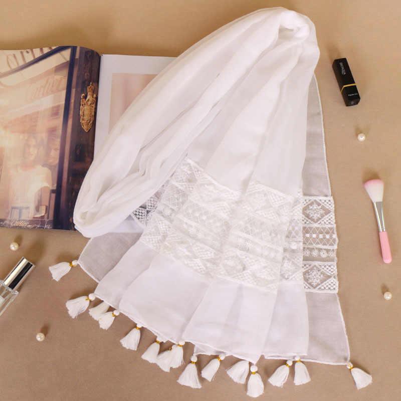 Nazione Abbigliamento Accessori Donna Del Merletto Nappe Sciarpa Turbante Musulmano Sciarpa Testa All'ingrosso Hijab Islamico