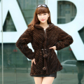 2016 Lady Real Knitted Mink Fur Coat Blazer Jacket With Hooded Autumn Winter Women Fur Outerwear Coats Adjustable Belt VK1511