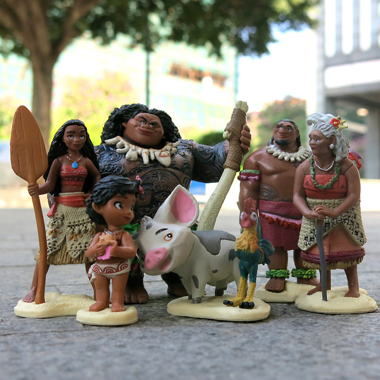 ( 6 pcs/lot ) Moana Figure Set Figurine PVC Toy Action Figure Q Version Moana Toy Anime Cosplay Collectibles Gift
