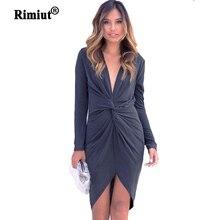 Rimiut Women Simple Irregular Cross Deep V neck Dresses Autumn Lady Party Short Above Knee Dress Beautiful Black/Grey S-XL