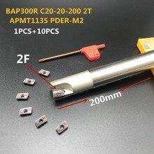 цена на 10PCS Lathe tool APMT1135 M2 + 1PCS 20mm cutter head BAP300R C20-20-200-2T CNC milling cutter carbide insert milling cutter