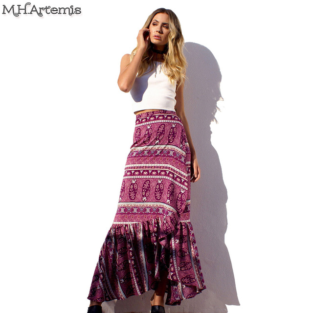 c2d2ef706bf M.h.artemis Boho Chic Bow Asymmetrical Women Skirts Folk Pattern Hi-lo Wrap  Maxi Skirt Beach Boho Long Summer Free Style