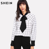 SHEIN Black And White Women Blouses Long Sleeve Colorblock Womens Tops And Blouses Button Contrast Tie