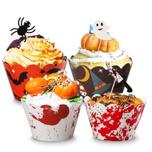24pcs Happy Halloween Party Cupcake Toppers Wrapper Horrible Cake Decorating Ghost Festival Halloween Party Decorations Spider halloween horrible ghost printed party mask with wig