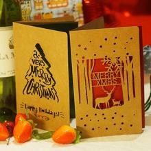 10 Pcs/lot Kraft Paper Merry Christmas Card Laser Cut Hollow Deer Snow Blessing Greeting with Envelope