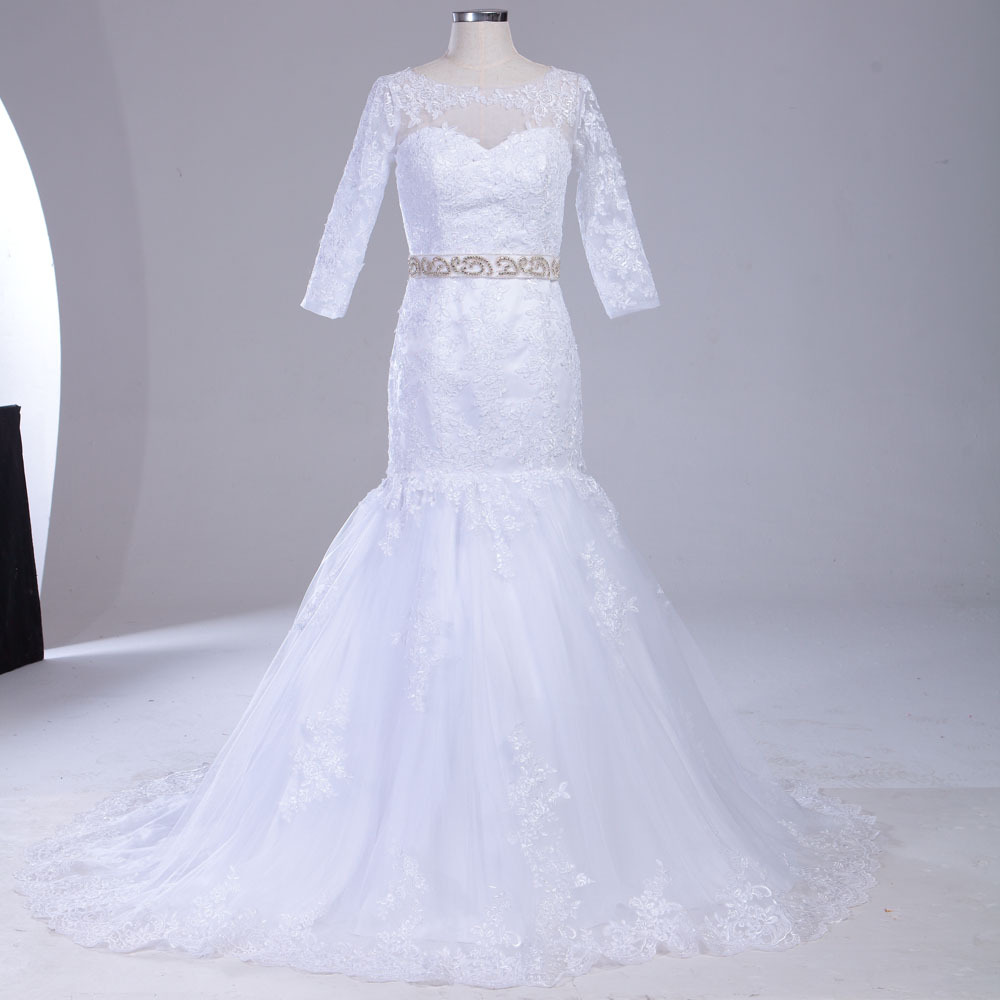 Luxurious long train girl mermaid buttons 3 4 sleeves lace for Trumpet wedding dress with long train