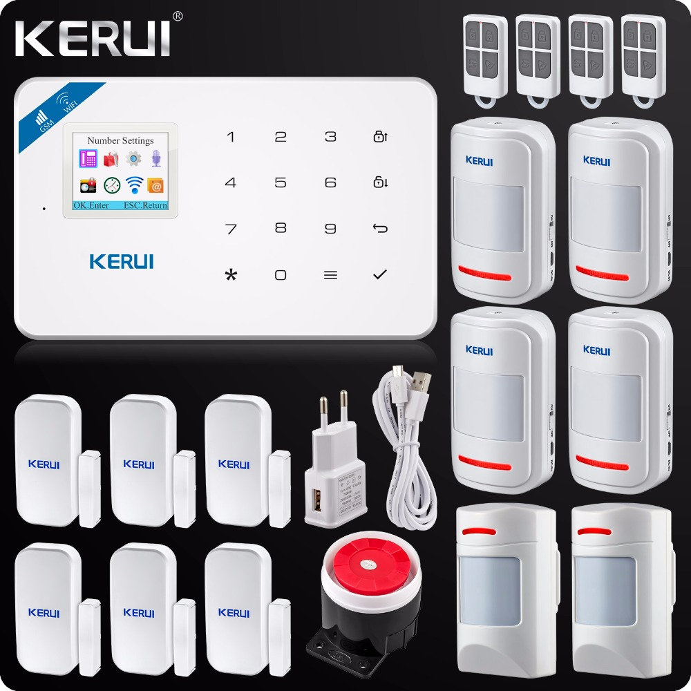 2018 Kerui W18 Wireless Wifi GSM IOS/Android APP Control LCD GSM SMS Home Burglar Alarm System Pet Immune PIR Detector ios android app smart control wireless gsm touch lcd shock window home secure burglar system