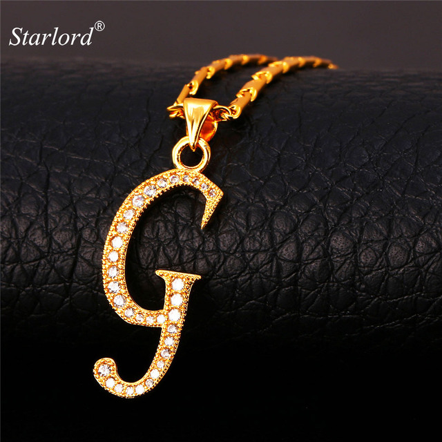 initial g letter pendants necklaces womenmen personalized gift alphabet jewelry gold color necklace p1677