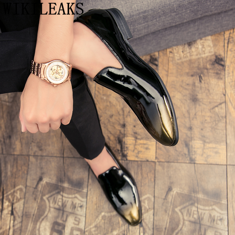 Party Shoes For Men Coiffeur Wedding Shoes Men Elegant Italian Brand Patent Leather Dress Shoes Men Formal Sepatu Slip On Pria