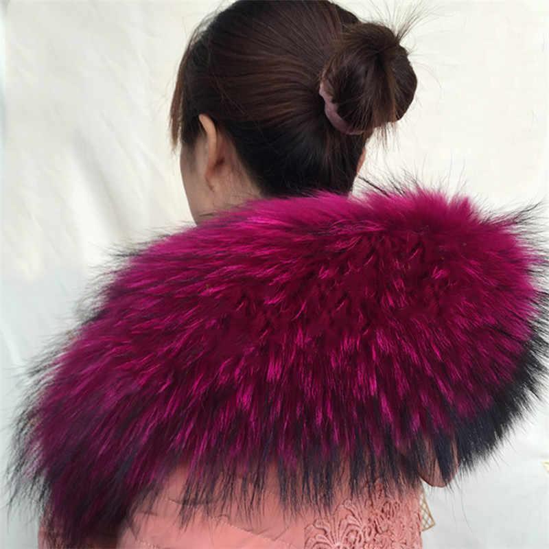 2019 mode surdimensionné moelleux fourrure col hiver sauvage écharpe variété de couleur fourrure col raton laveur fourrure Initation chapeau décoration chaud