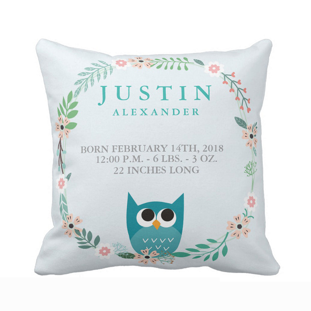 Personalized Woodland Forest Birth Stats Owl Nursery Throw Pillow Cover Soft Polyester Cotton Home Decorative Cushion
