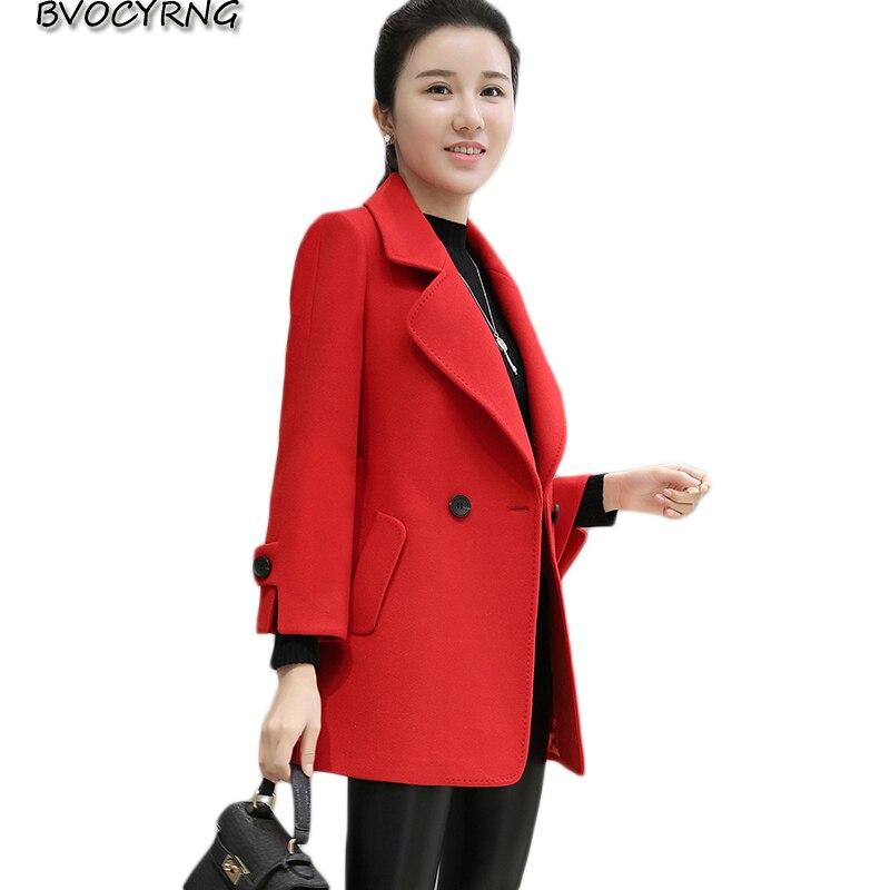 2017New Spring Autumn Women Cloth Coat Medium style Lapels Big Yards Leisure Coat Elegant Fashion High-end Wool Cloth Parka Q626