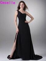 Black Chiffon A Line Long Evening Dresses 2017 One Shoulder Slit Simple Elegant Women Formal Evening