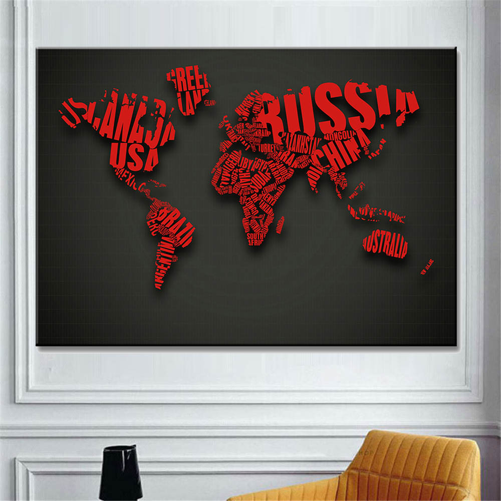 abstract  world map canvas art painting (3)