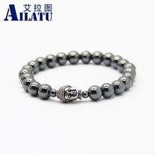 Ailatu بالجملة 10 قطعة/الوحدة عالية الجودة الهيماتيت الخرز بوذا محظوظ أساور مجوهرات