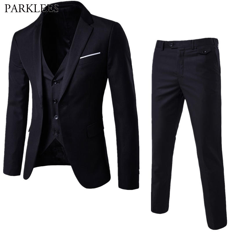 PARKLEES Men's 3 Pieces Black Elegant Suits With Pants Slim Fit Single Button Party