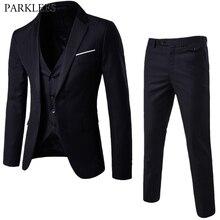 3 Pezzi Nero Elegante Abiti Con Pantaloni degli uomini di Marca Slim Fit Button Singolo Partito Convenzionale del Vestito Vestito di Affari di Sesso Maschile terno Masculino