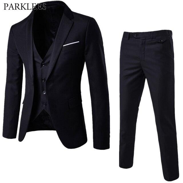 273cea59bdf38 Męskie 3 kawałki czarny elegancki garnitury ze spodniami marki schudnięcia  napadu jeden przycisk Party formalne sukienka