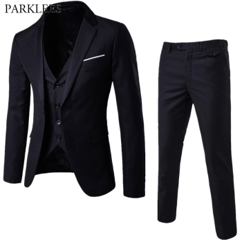 Men's 3 Pieces Black Elegant Suits With Pants Brand Slim Fit Single Button Party Formal Business Dress Suit Male Terno Masculino Men's Suits