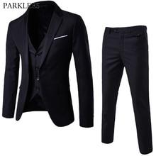 Men's 3 Pieces Black Elegant Suits With Pants Brand Slim Fit