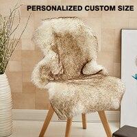 Carpet Sheepskin Chair Cover Soft Bedroom Faux Mat Seat Pad Plain Skin Fur Fluffy Area Rugs