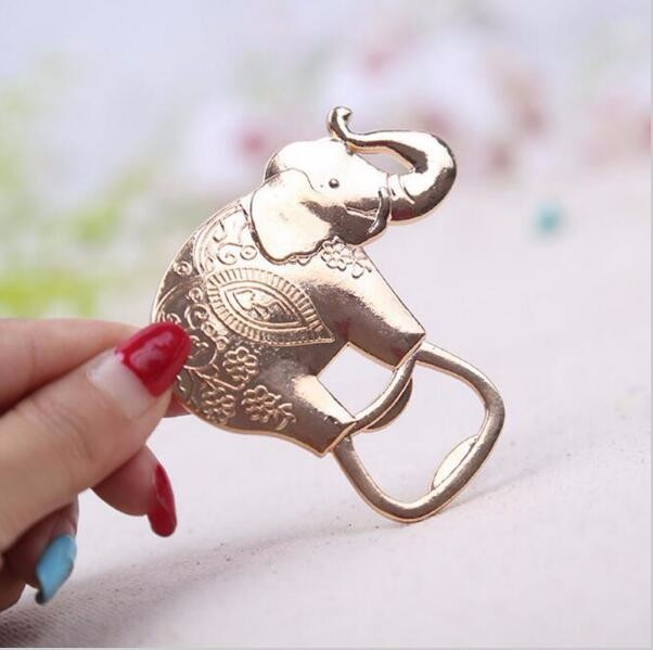 200pcs/lot Lucky Golden Elephant Bottle Opener Gold Wedding Favors Party Giveaway Gift For Guest